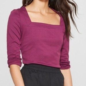 Who What Wear Plum 3/4 Sleeve Square Neck Top XS
